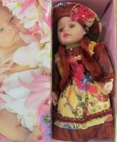 عروسک موزیکال سایز 24 لباس زرشکی